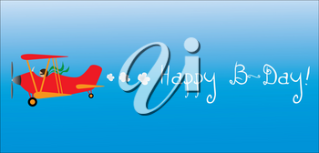 Clip Art Image of a Cartoon Airplane Flying a Banner