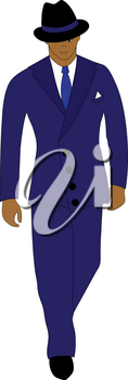 Clip Art Image of a 1940's Vintage Businessman Walking