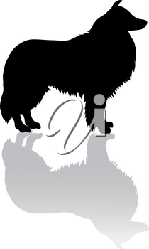 Clip Art Image of a Silhouette of a Collie Dog
