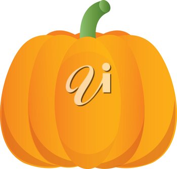 Clip Art Image of a Bright Orange Cartoon Pumpkin