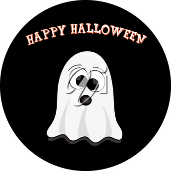 Clip Art Image of a Cute Cartoon Ghost for Halloween