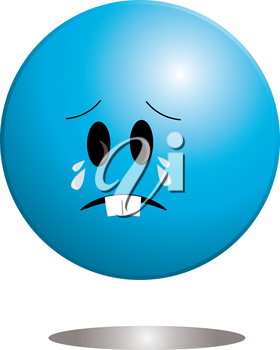 Clip Art Image of a Cute Little Ball Shaped Character Crying With Tears