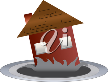 Clip Art Image of a Real Estate Icon of a House Sinking Into a Hole