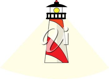 Clip Art Image of a Cartoon Lighthouse With a Beam of Light