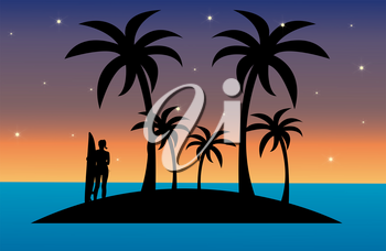 Clip Art Image of a Silhouette of a Surfer Girl on an Island at Sunset