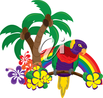 Clip Art Illustration of a Rainbow With a Tropical Parrot