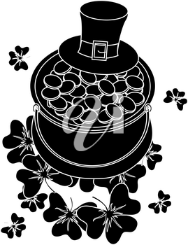 Clip Art Illustration of a Pot of Gold Silhouette