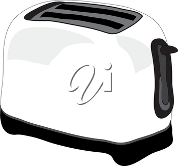 Clip Art Illustration of a White Toaster