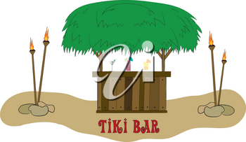 Clip Art Illustration of Grass Topped Tiki Bar With Torches