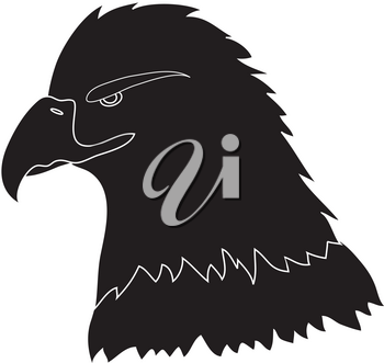Clip Art Illustration of a Bald Eagle in Silhouette