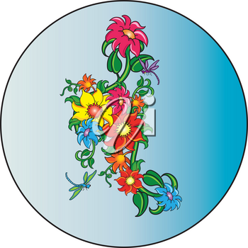 Clip Art Illustration of Dragonflies and Flowers Scene