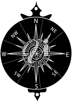Black and White Clip Art Illustration of a Compass Rose