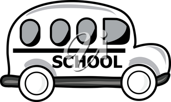 Black and White Clip Art Illustration of a School Bus