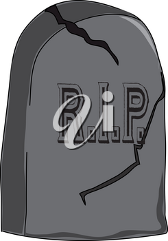 Clip Art Illustration of a RIP Headstone