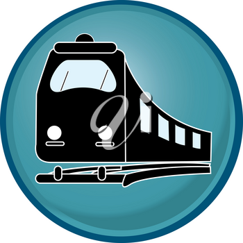 Clip Art Illustration of a RailwayTrain Icon