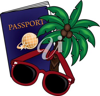 Clip Art Illustration of a Passport, Sunglasses and a Palm Tree