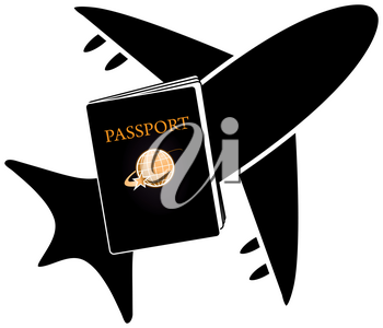 Clip Art Illustration of a Passport and Airplane Icon