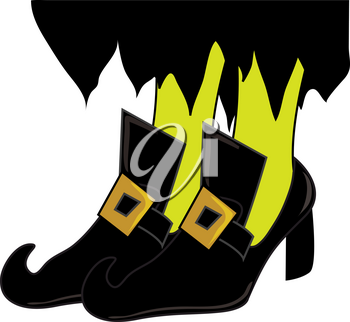Clip Art Illustration of Pointy Witch Shoes