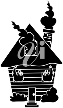 Clip Art Illustration of a Burning House on Fire Silhouette