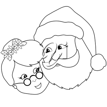 Clip Art Illustration of Mr And Mrs Santa Claus