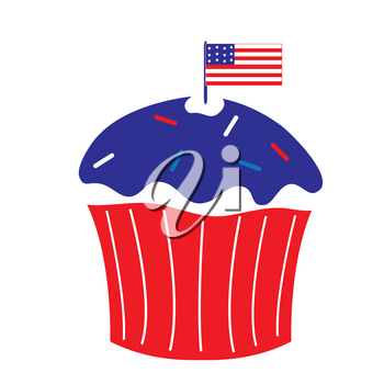Clip Art Illustration of a Fourth of July Cupcake