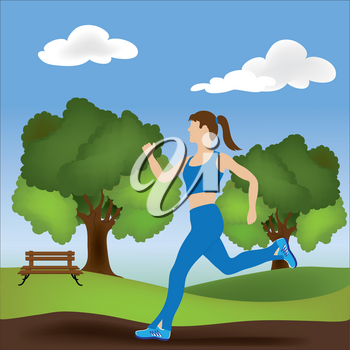 Clip Art Illustration of a Woman Jogging in the Park
