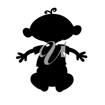 Clip Art Illustration of a Silhouette of a Cartoon Baby