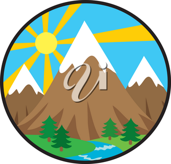 Clipart Image of The Sun Rising Behind a Mountain Landscape