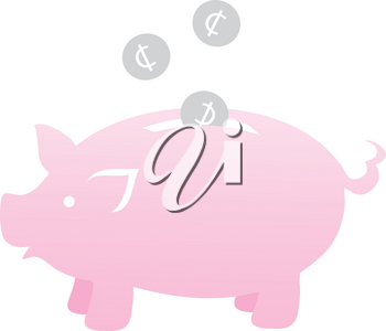 Clipart Illustration of Silver Change Falling Into a Piggy Bank