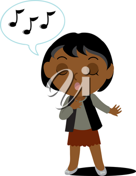 Clipart Illustration of Dark Skinned Girl Or Woman Singing
