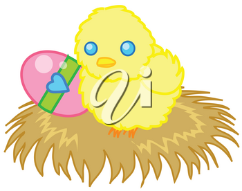 Clipart Illustration of a Yellow Chick Sitting on Hay With an Easter Egg