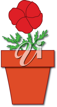 Clipart Illustration of a Red Flower Growing in a Pot