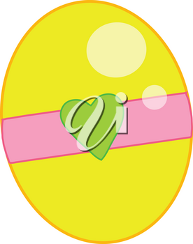 Clipart Illustration of a Yellow Easter Egg With Heart