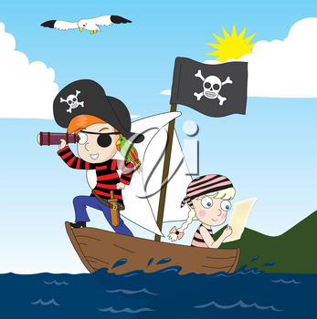 Cartoon Clipart Illustration of Kids Pretending to Be Pirates on a Sailboat