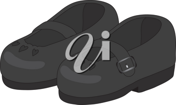 Clipart Illustration of a Pair of Child's Black Mary Jane Shoes