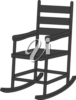 Royalty Free Clipart Illustration of a Black Rocking Chair