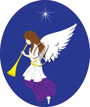 Royalty Free Clipart Illustration of a Christmas Angel With North Star