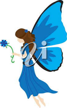 Royalty Free Clipart Illustration of a Blue Fairy Holding a Flower