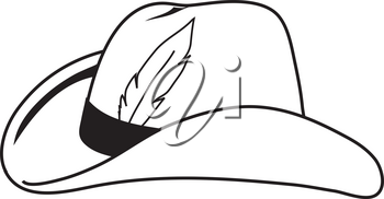 Royalty Free Clipart Illustration of a Cowboy Hat With a Feather