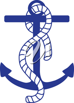 Clip Art Illustration Of A Dark Blue Boat Anchor With A Rope