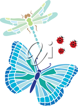 Clip Art Illustration Of A Butterfly With A Dragonfly And Ladybugs
