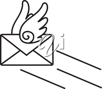 Clip Art Illustration Of A Black And White Flying Envelope Email Icon