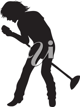 Clip Art Illustration Of The Silhouette Of A Male Singer