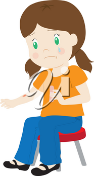 Clip Art Illustration Of A Little Girl Putting A Bandage On Cut