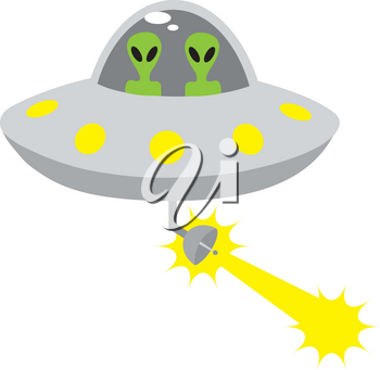 Clip Art Illustration Of Aliens Driving A Space Ship Firing A Beam
