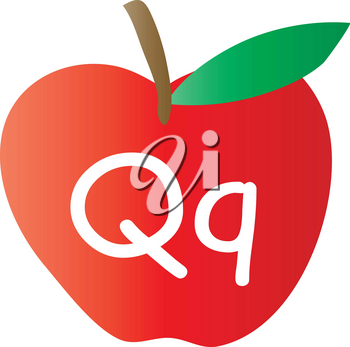 Clip Art Illustration Of An Apple With The Letter Q Written On It