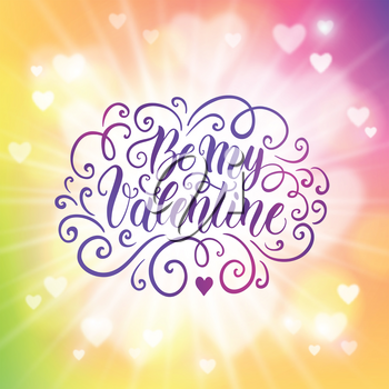 Happy Valentine's day hand lettering banner on blured background. Can be used for website background, poster, printing, banner, greeting card. Vector illustration