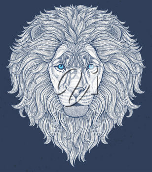 Lion head hand drawn in lines isolated on white background. Decorative doodle vector illustration. Perfect for postcard, poster, print, greeting card, t-shirt, phone case design