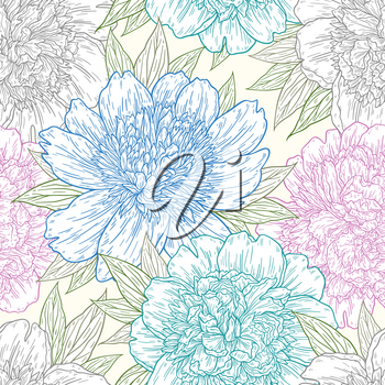 Seamless pattern with peony flowers hand drawn in lines. Graphic doodle sketch floral background. Vector illustration