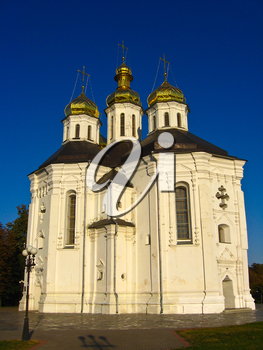 beautiful Christian church on the background of blue sky
